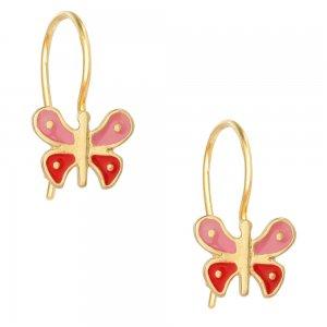 Κρεμαστά ασημένια σκουλαρίκια πεταλούδα 925, επίχρυσα. Είναι διακοσμημένα με σμάλτο σε ροζ και κόκκινο χρώμα.
