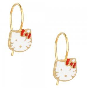 Παιδικά κρεμαστά σκουλαρίκια από ασήμι 925, επίχρυσα, σε σχέδιο γατούλας. Είναι διακοσμημένα με σμάλτο σε λευκό χρώμα.