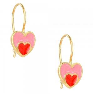 Παιδικά σκουλαρίκια καρδιές από ασήμι 925, επίχρυσα, σε κραμαστό σχέδιο. Είναι διακοσμημένα με σμάλτο σε ροζ και κόκκινο χρώμα.