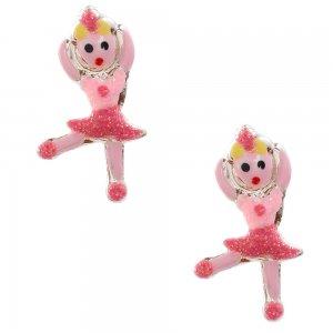 Παιδικά σκουλαρίκια μπαλαρίνα ασήμι 925, καρφωτά, διακοσμημένα με σμάλτο σε ροζ αποχρώσεις με λαμπερές λεπτομέρειες.