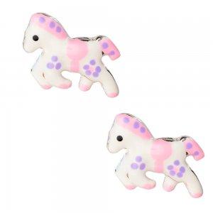 Παιδικά σκουλαρίκια ασημένια αλογάκι, καρφωτά, διακοσμημένα με σμάλτο σε λευκό χρώμα με ροζ λεπτομέρειες.