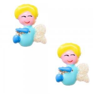 Σκουλαρίκια παιδικά από ασήμι 925, επιπλατινωμένα, σε καρφωτό σχέδιο αγγελάκι. Είναι διακοσμημένα με σμάλτο σε γαλάζιες αποχρώσεις και λαμπερές λεπτομέρειες.