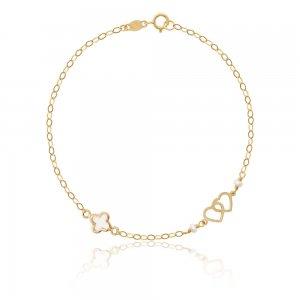 Χρυσό βραχιόλι καρδιά 9Κ με σταυρουδάκι από φίλντισι. Η χρυσή αλυσίδα είναι διακοσμημένη με δύο διακριτικά μαργαριτάρια.