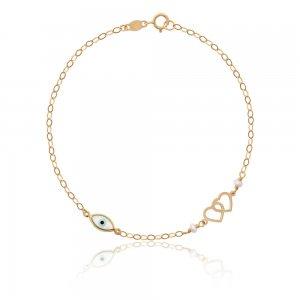 Ματάκι βραχιόλι χρυσό 9Κ, με διπλή διάτρητη καρδιά. Η χρυσή αλυσίδα είναι διακοσμημένη με δύο διακριτικά μαργαριτάρια.
