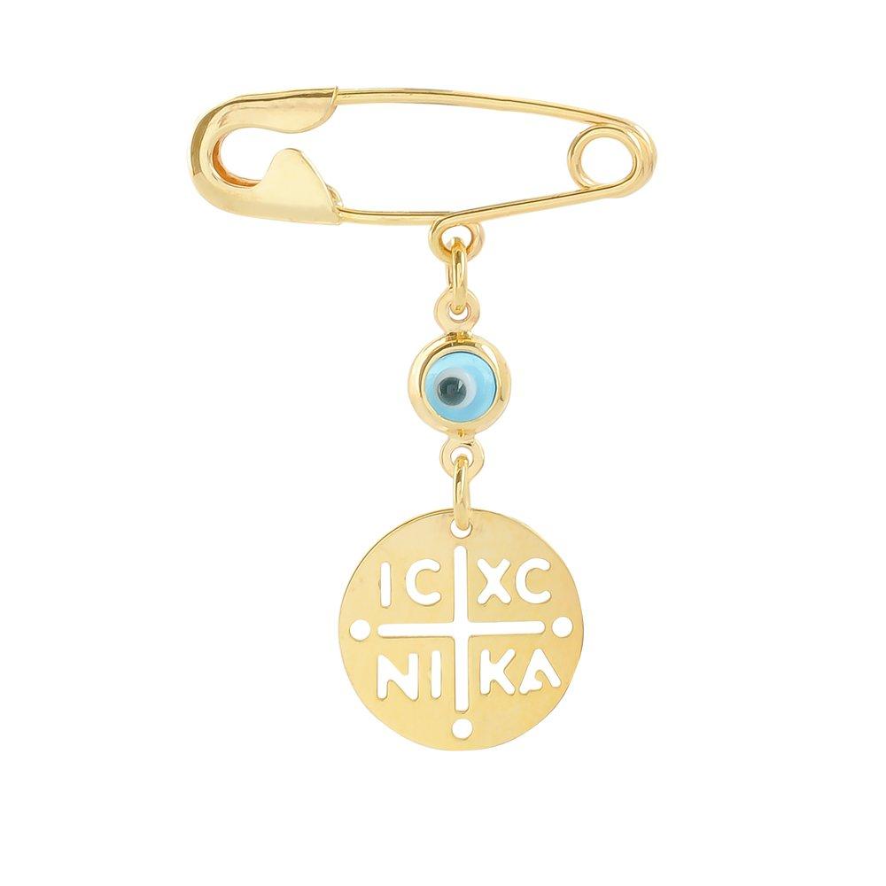 Κωνσταντινάτο για νεογέννητο χρυσό 9Κ με παραμάνα, για κορίτσι ή αγόρι. Είναι διακοσμημένη με ματάκι σε γαλάζιο χρώμα.