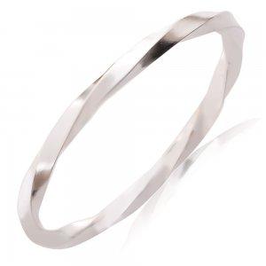 Δαχτυλίδι βεράκι από ασήμι μασίφ 925, επιπλατινωμένο, σε στριφτό μοντέρνο σχέδιο. Φορέστε ένα ή πολλά μαζί!