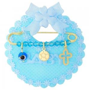 Δώρο για νεογέννητο αγόρι από ασήμι 925 επίχρυσο, πάνω σε γαλάζιο μαξιλαράκι σαλιάρα. Η παιδική παραμάνα είναι διακοσμημένη με ματάκι, μπάλα ποδοσφαίρου, διάτρητο σταυρό και γαλάζιες πέτρες.