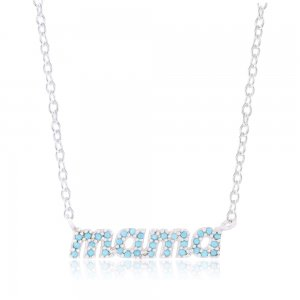 Κολιέ mama από ασήμι 925 επιπλατινωμένο. Η λέξη mama είναι γραμμένη σε αγγλική γραφή και είναι διακοσμημένη με συνθετικές πέτρες τυρκουάζ.