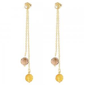 Κρεμαστά σκουλαρίκια ασήμι 925, σε σχέδιο με διπλή αλυσίδα και πέτρες ζιρκόν σε γήινα χρώματα. Το κρεμαστό τμήμα αφαιρείται και τα καρφωτά μονόπετρα σκουλαρίκια φοριούνται και μόνα τους!