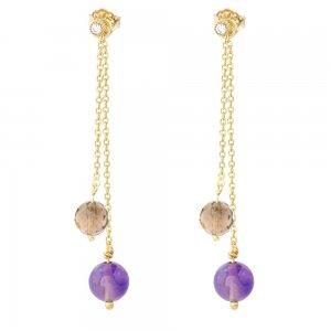 Κρεμαστά σκουλαρίκια ασήμι 925, σε σχέδιο με διπλή αλυσίδα, διακοσμημένη με μοβ αμέθυστο και καφέ πέτρες ζιρκόν.