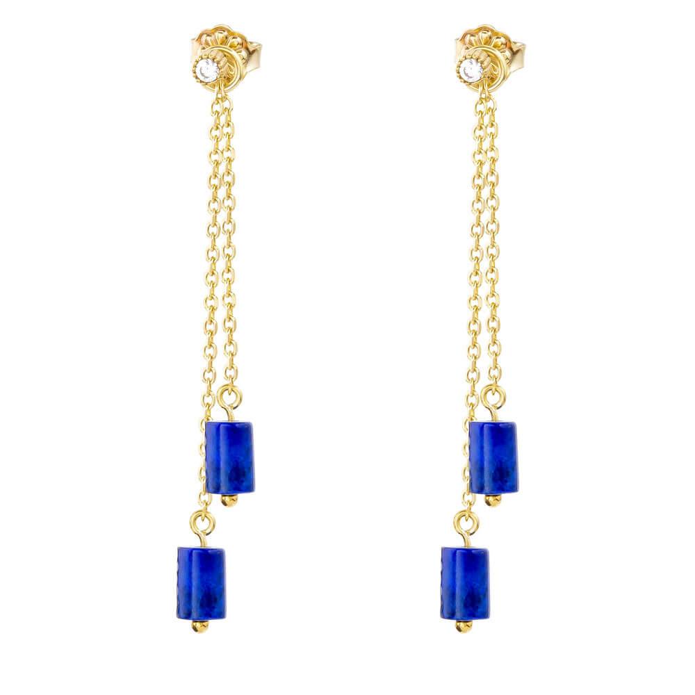 Κρεμαστά σκουλαρίκια ασημένια 925 επίχρυσα, σε κρεμαστό σχέδιο με διπλή αλυσίδα και μπλε ημιπολύτιμους λίθους λάπις λάζουλι, με κυλινδρικό σχήμα.
