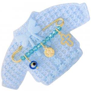 Παραμάνα παιδική από ασήμι 925 επίχρυσο, πάνω σε πλεκτό ζακετάκι. Η παραμάνα για νεογέννητο αγόρι είναι διακοσμημένη με ματάκι, μπάλα ποδοσφαίρου, διάτρητο σταυρό και γαλάζιες πέτρες.