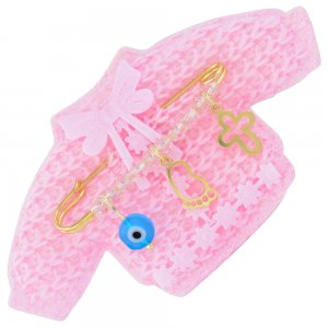 Παραμάνα παιδική για νεογέννητο ασημένια 925, επίχρυσωμένη, πάνω σε πλεκτό ζακετάκι. Η παραμάνα για νεογέννητο κοριτσάκι είναι διακοσμημένη με ματάκι, σταυρουδάκι, πατούσα και ροζ πέτρες.