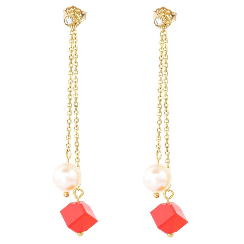 Σκουλαρίκια κρεμαστά ασημένια 925, επίχρυσα. Αποτελούνται από διπλή αλυσίδα, διακοσμημένη με κόκκινες πέτρες ζιρκόν και αληθινά μαργαριτάρια. Το κρεμαστό τμήμα αφαιρείται και τα καρφωτά μονόπετρα σκουλαρίκια φοριούνται και μόνα τους!