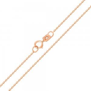 Αλυσίδα λεπτή ροζ χρυσό 14Κ , σε σχέδιο κρίκο - κρίκο, με λουστρέ φινίρισμα. Αλυσίδα πλεγμένη με οβάλ κρίκους σε αραιή πλέξη. Αποτελεί ιδανική επιλογή για διακριτικό γυναικείο μενταγιόν.