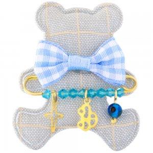 Δώρο για νεογέννητο αγοράκι από ασήμι 925 επίχρυσο, πάνω σε υφασμάτινο αρκουδάκι. Η παιδική παραμάνα είναι διακοσμημένη με ματάκι, αυτοκινητάκι και σταυρό.