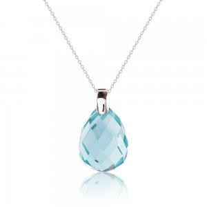 Κολιέ με Swarovski κρύσταλλο από ασήμι 925, επιπλατινωμένο, με μια εντυπωσιακή γαλάζια πέτρα σε σχήμα δάκρυ με πολυγωνική κοπή.