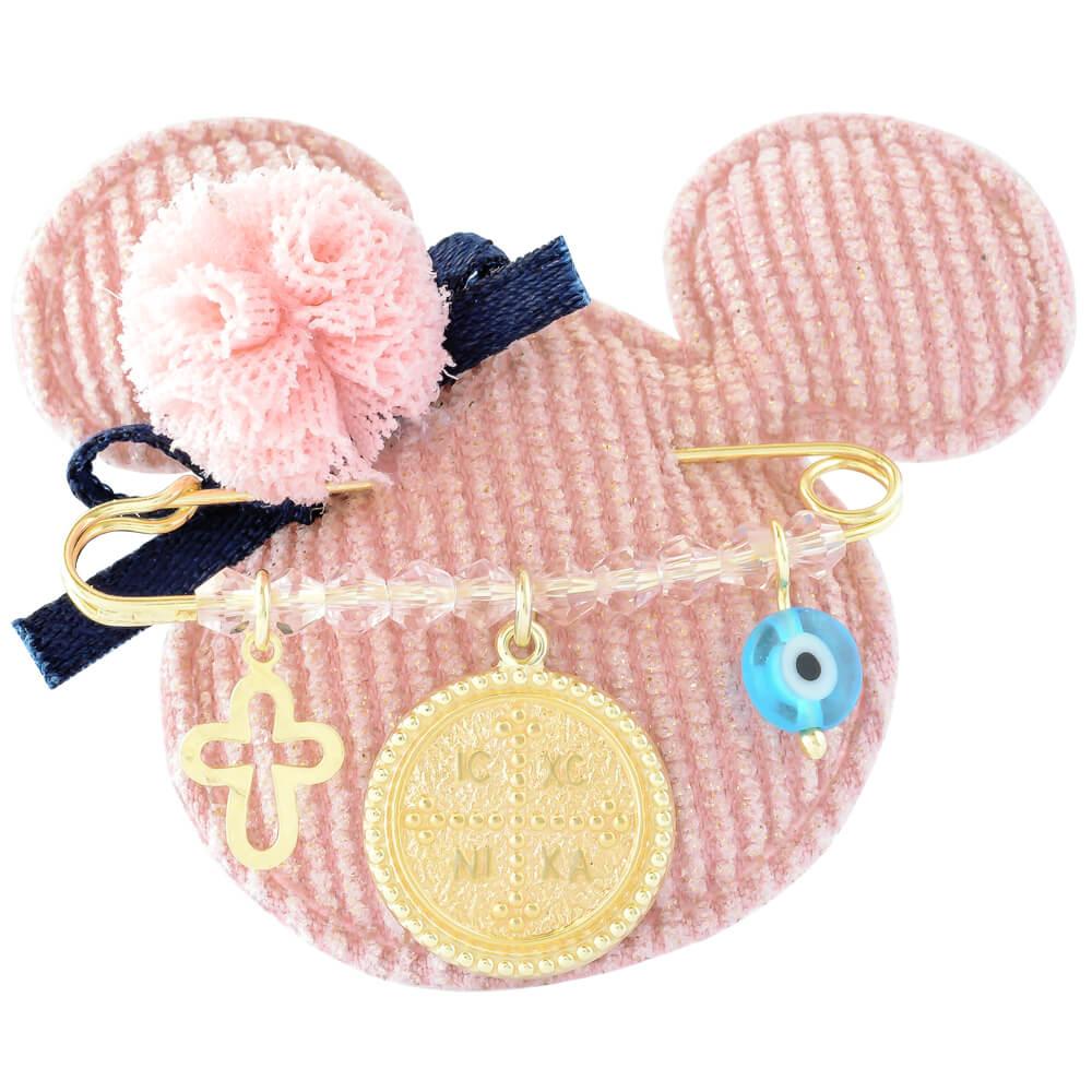 Κωνσταντινάτο για μωρό ασημένιο 925, επίχρυσωμένο. Η παιδική παραμάνα για κορίτσι είναι διακοσμημένη με ματάκι, σταυρουδάκι και ανάγλυφο κωνσταντινάτο.