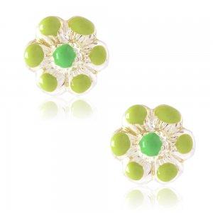 Λουλούδια παιδικά σκουλαρίκια από ασήμι 925, επιπλατινωμένα. Είναι καρφωτά, διακοσμημένα με σμάλτο σε πράσινο χρώμα.