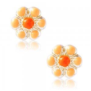 Παιδικά σκουλαρίκια λουλούδια από ασήμι 925, επιπλατινωμένα. Είναι καρφωτά, διακοσμημένα με σμάλτο σε πορτοκαλί χρώμα.