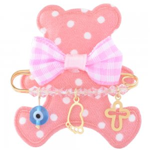 Παραμάνα αρκουδάκι για νεογέννητο ασημένια 925, επίχρυσωμένη. Η παραμάνα είναι διακοσμημένη με ματάκι, σταυρουδάκι, πατούσα και ροζ πέτρες.