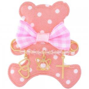 Παραμάνα ασημένια με κρεμαστά 925, επίχρυσωμένη, σε υφασμάτινο αρκουδάκι. Η παραμάνα για νεογέννητο κοριτσάκι είναι διακοσμημένη με καρδιές, πεταλούδα, σταυρό και ροζ πέτρες.