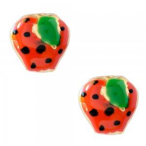 Παιδικά σκουλαρίκια φράουλα από ασήμι 925, επιχρυσωμένα. Είναι διακοσμημένα με σμάλτο σε κόκκινο χρώμα.
