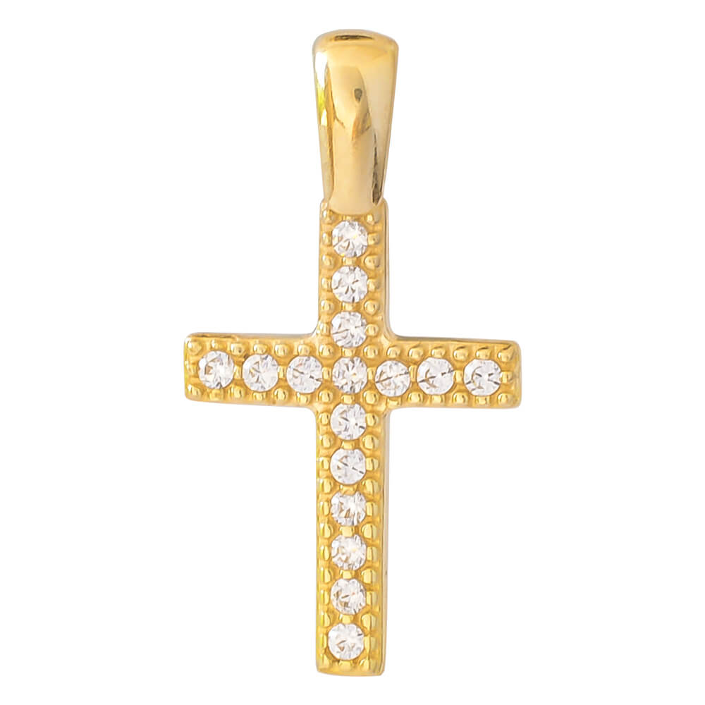 Σταυρός μικρός χρυσός 14Κ, διακριτικός, διακοσμημένος με λευκές πέτρες ζιργκόν. Συνδυάστε τον με τις προτεινόμενες αλυσίδες.