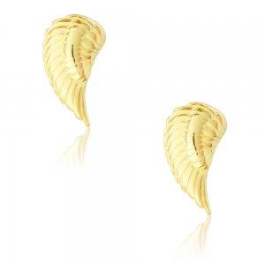 Ασημένια καρφωτά σκουλαρίκια φτερά επιχρυσωμένα. Έχουν τρισδιάστατο ανάγλυφο σχέδιο.