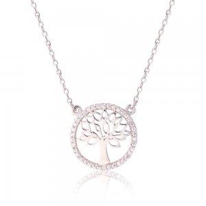 Ασημένιο δέντρο της ζωής κολιέ, επιπλατινωμένο. Το δέντρο περιβάλλεται από κύκλο διακοσμημένο με λευκά ζιργκόν