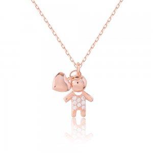 Δώρο για μαμά ασημένιο 925 με ροζ επιχρύσωμα. Είναι διακοσμημένο με ένα κρεμαστό αγοράκι με λευκές πέτρες ζιρκόν και μια καρδιά.