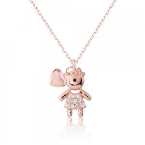 Κολιέ για νέα μαμά ασημένιο 925 με ροζ επιχρύσωμα. Είναι διακοσμημένο με ένα κοριτσάκι με λευκές πέτρες ζιρκόν και μια καρδιά.