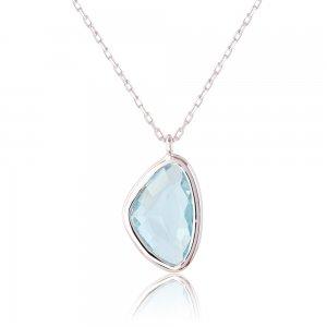 Κολιέ καλοκαιρινό ασημένιο 925, επιπλατινωμένο, με υπέροχη γαλάζια πολυγωνική πέτρα.