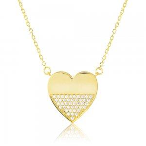 Κολιέ καρδιά χρυσό 9Κ, σε μοντέρνο σχέδιο διακοσμημένο με πέτρες ζιργκόν στη μισή επιφάνεια.