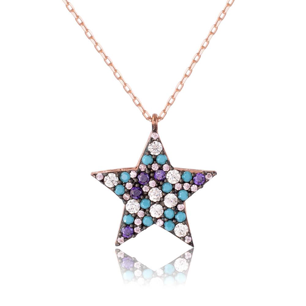 Κολιέ με πέτρες αστέρι ασημένιο 925. Το αστέρι είναι διακοσμημένο με εντυπωσιακές πέτρες σε τυρκουάζ, μοβ και λευκό χρώμα.