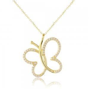Κολιέ πεταλούδα χρυσό 9Κ σε διάτρητο σχέδιο, διακοσμημένο με λευκές πέτρες ζιργκόν.
