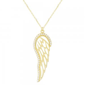 Κολιέ φτερό αγγέλου, από χρυσό 14Κ. Το κρεμαστό μονό φτερό έχει λουστρέ φινίρισμα και είναι διακοσμημένο με λευκά ζιργκόν περιμετρικά.