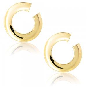 Μοντέρνοι κρίκοι χρυσοί 14Κ, σε ιδιαίτερο σχέδιο με διάμετρο 2.6 cm και πλάτος 5 mm. Τα μοναδικά σκουλαρίκια είναι καρφωτά και έχουν λεία λουστρέ επιφάνεια.