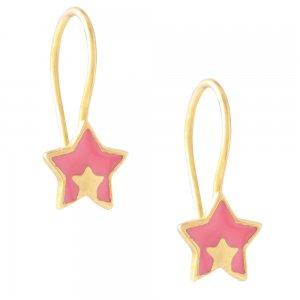 Σκουλαρίκια αστέρια παιδικά από ασήμι 925, επιχρυσωμένα. Είναι κρεμαστά, διακοσμημένα με σμάλτο σε ροζ χρώμα.