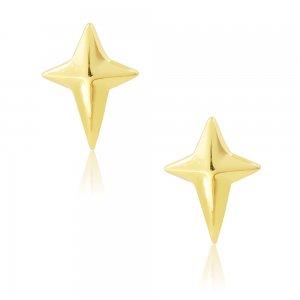Σκουλαρίκια μοντέρνα ασημένια 925 επιχρυσωμένα. Είναι καρφωτά με αστέρι σε σχήμα σταυρού.