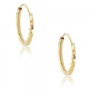 Χρυσοί κρίκοι μικροί 14Κ, σε στρογγυλό σχέδιο με διάμετρο 1.6 cm και σφυρήλατη επεξεργασία.