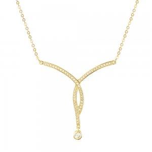 Χρυσό γυναικείο κολιέ 9Κ σε εντυπωσιακό σχέδιο, διακοσμημένο με λευκές πέτρες ζιργκόν. Κατάλληλο και για νυφικό κόσμημα.