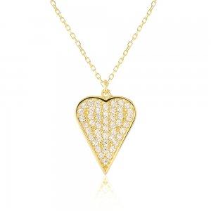 Χρυσό κολιέ καρδιά 9Κ, σε μοντέρνο σχέδιο διακοσμημένο με πέτρες ζιργκόν σε όλη την επιφάνεια.