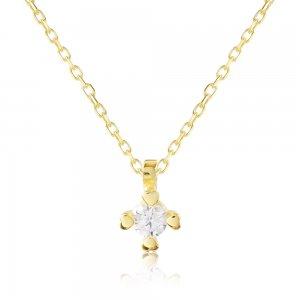 Χρυσό κολιέ μονόπετρο 14Κ με ένα λευκό ζιργκόν και τέσσερα στηρίγματα σε σχήμα καρδιάς!