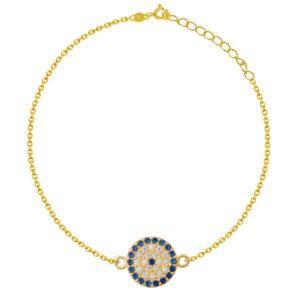 Βραχιόλι μάτι ασημένιο 925, επίχρυσο, σε στρογγυλό σχήμα, διακοσμημένο με μπλε και λευκές πέτρες ζιργκόν.