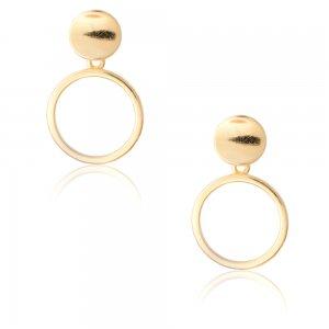 Κύκλος σκουλαρίκια κρεμαστά ασημένια 925 επιχρυσωμένα, σε διάτρητο σχέδιο με συνολικό μήκος 1.8 cm.