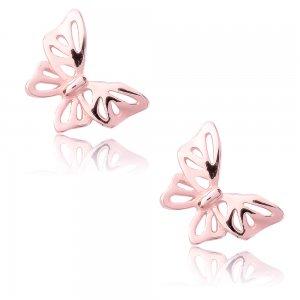 Σκουλαρίκια με πεταλούδες ασημένια 925 με ροζ επιχρύσωμα, σε διάτρητο σχέδιο με λείο λουστρέ φινίρισμα.
