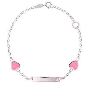 Ταυτότητα για κορίτσι ασήμι 925, επιπλατινωμένο. Είναι διακοσμημένη με δύο καρδιές με ροζ σμάλτο.