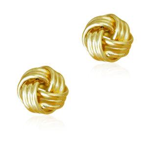 Κόμποι σκουλαρίκια ασημένια 925 επίχρυσα, με τετραπλό πλέξιμο και ανάγλυφο σχέδιο, σε λείο λουστρέ φινίρισμα.