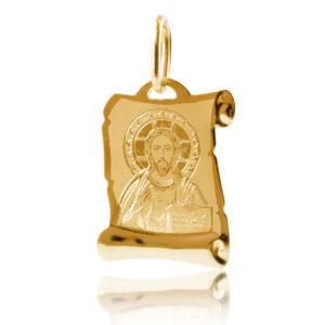 Χρυσό φυλαχτό για μωρό 9Κ, διακοσμημένο με χαραγμένη απεικόνιση του Χριστού σε λουστρέ και ματ φινίρισμα. Συνδυάστε το με αλυσίδα ή παραμάνα.